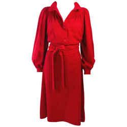EMANUEL UNGARO Red Wool Cashmere Blend Dress Size 8