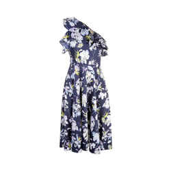 Jason Wu Navy Multi Floral Print One Sleeve Dress