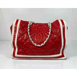 CHANEL Lambskin Leather Quilted Tote with Ribbon Trim in Red Tote Shoulder Handbag