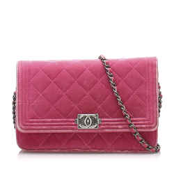 Vintage Authentic Chanel Pink Velour Fabric Matelasse Boy Wallet On Chain France