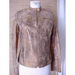 Tory Burch Jacket Distressed Leather Gold Wash Light Weight  6 Nwt