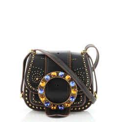 Dahlia Crossbody Bag Crystal Embellished Leather Small