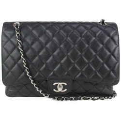 Chanel SHW Quilted Black Caviar Leather Maxi Classic Double Flap 831cas47
