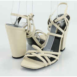 Saint Laurent Cream 100mm Block-Heel Strappy Leather Sandals
