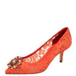 Dolce & Gabbana Red Lace Bellucci Pumps Size 37