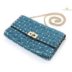 Valentino Woman's Garavani Rockstud Gold Spike Blue Shoulder Bag