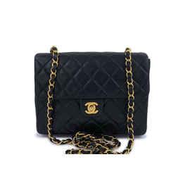 Chanel Vintage Black Mini Flap Bag Classic Lambskin 20cm 24k GHW