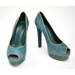 Gucci: Teal Blue, Leather, Platform Peep Toe Heels/pumps Sz: 7.5m