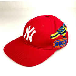 Gucci X Mlb Unisex Red Cotton Ny Yankee Baseball Hat One Size 538561 6480