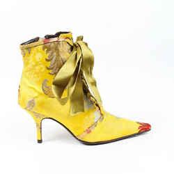 Oscar de la Renta Ankle Boots Satin Brocade Ribbon Pointed SZ 37.5