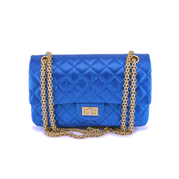Nib 19a Chanel Iridescent Royal Electric Blue 2.55 225 Small Reissue Flap Bag