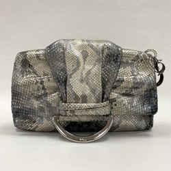 Authentic Dior Grey Pearlized Python Clutch