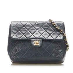 Vintage Authentic Chanel Black CC Matelasse Lambskin Flap Crossbody Bag France