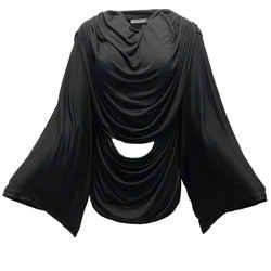 Givenchy Black Draped Kimono Sleeve Top