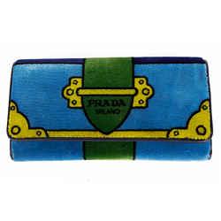 New $1050 Prada Blue & Green Cahier Graphic Print Velvet Snap Flap Long Wristlet Wallet