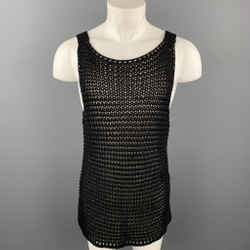 CALVIN KLEIN COLLECTION Size XL Black Mesh Cotton Long Tank Top