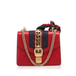 Vintage Authentic Gucci Red Calf Leather Mini Sylvie Chain Shoulder Bag Italy