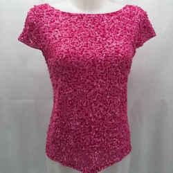 Alice + Olivia Pink Sequin Short Sleeve Medium