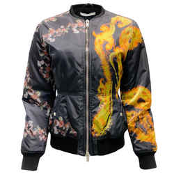 Givenchy Black Flame and Rose Print Bomber Jacket