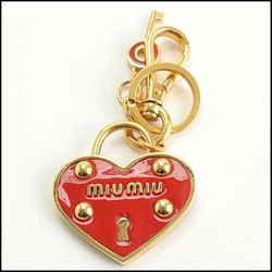 Rdc11218 Authentic Miu Miu Red Enamel/gold Heart Keychain/bag Charm