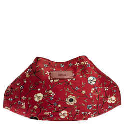 Alexander McQueen Multicolor Floral Print Satin and Leather Medium De Manta