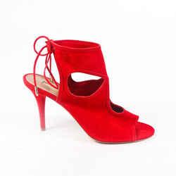 Aquazzura Sandals Sexy Thing Red Suede Stiletto SZ 41