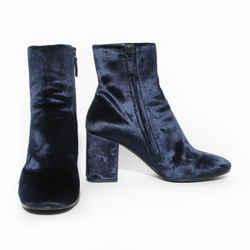 Balenciaga Navy Blue Velvet Ville Boot