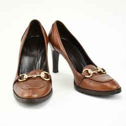 "Gucci: Cognac Brown, Leather & ""horsebit"" Heels/pump Sz: 7c"