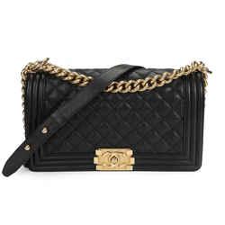 Chanel Black Caviar Quilted Old Medium Boy Bag