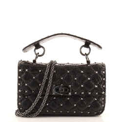 Rockstud Spike Flap Bag Quilted Leather Small