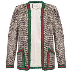 Gucci Size 38 Web Blazer Tweed Jacket Black Ivory 610060 Zacck 5g94