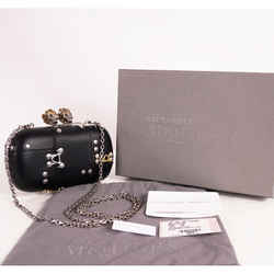 NEW $2,990 ALEXANDER MCQUEEN Black Leather Hook KING QUEEN SKULL Clutch BOX BAG