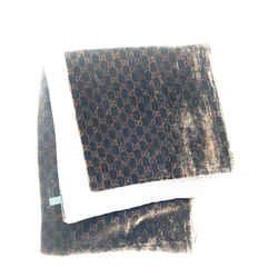 Gucci Monogram GG Scarf Wrap Velour Velvet Brown 16g65