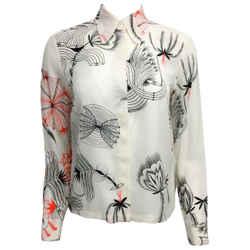 Dries van Noten Ivory Silk Shirt Button-Down Top