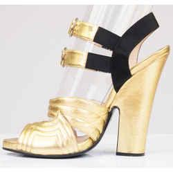 sz 40 US 9.5 New $1100 Prada Metallic Gold Leather Heeled Sandal