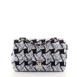 Classic Single Flap Bag Quilted Houndstooth Tweed Mini