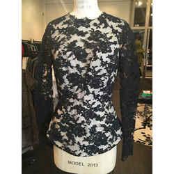 Monique Lhuillier Black Nude Lace Overlay Blouse Long Sleeve 1-253-11519