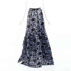 Erdem Skirt Amanda Blue Floral Jacquard Tiered Maxi SZ 10 UK