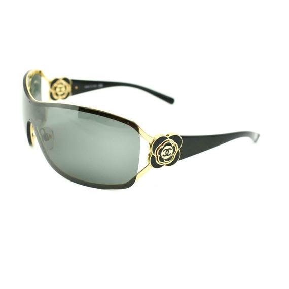 "CHANEL: Black & Gold, ""Camellia"" & ""CC"" Logo Shield Sunglasses (ly)"