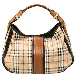 Burberry Beige/Brown Haymarket Check PVC and Leather Hobo