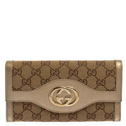 Gucci Beige/Gold GG Canvas and Leather Sukey Continental Wallet