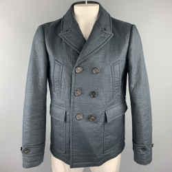 BURBERRY PRORSUM Size 42 Navy Textured Linen / Wool Peacoat