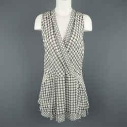 Proenza Schouler Size 2 White & Green Chainlink Silk Wrap Ruffle Dress