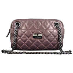 Chanel Reissue Metallic Purple Lambskin 2.55 Evening Purse Bag
