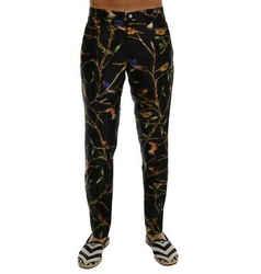 Dolce & Gabbana Black Bird Tree Print Silk Men's Pants