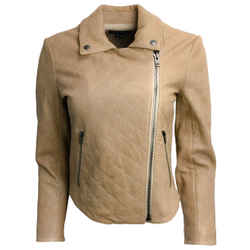Theory Tan Quilted Lambskin Jacket