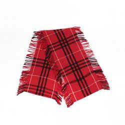 Burberry St. Helene Red Nova Check Wool Cashmere Fringe Scarf