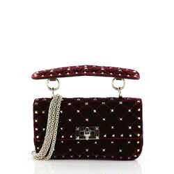 Rockstud Spike Flap Bag Quilted Velvet Small
