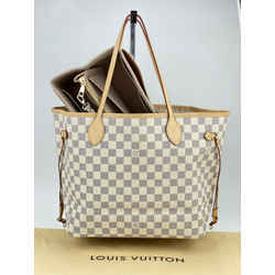 Louis Vuitton Neverfull MM Damier Azur with Insert Handbag Tote A623 Authentic