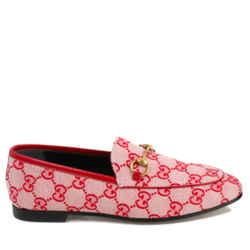 Gucci Gg Jordaan Horsebit Canvas Loafers Size 35.5